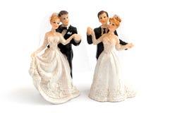 De cakebeeldjes van het huwelijk Stock Foto