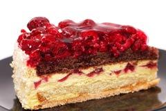 De cakeclose-up van de framboos Stock Afbeeldingen