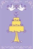 De cakeillustratie van het huwelijk Stock Afbeeldingen