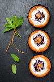 De cakes van bosbessenmuffins Royalty-vrije Stock Afbeeldingen