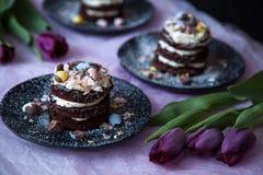 De Cakes van chocoladepasen met Purpere Tulpen Stock Fotografie