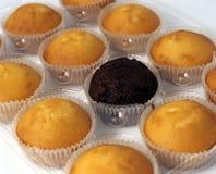 De Cakes van de kop in een rij. Stock Afbeeldingen