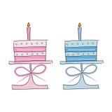 De cakes van de verjaardag Stock Afbeeldingen