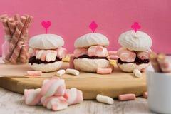 De cakes van de zefierheemst als sandwiches royalty-vrije stock foto
