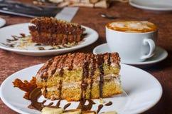 De cakes van het dessert met banaan en koffie Royalty-vrije Stock Foto