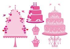 De cakes van het huwelijk en van de verjaardag, vector Stock Foto
