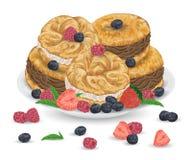 De cakes van Parijs Brest met praline en chocoladeroom op plaat met bessen Franse gebakjes met aardbei, framboos, bosbes stock illustratie
