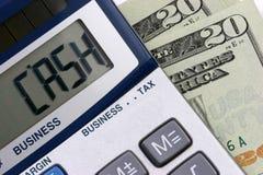 De calculator van het CONTANTE GELD Stock Fotografie