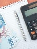 De calculatorlire van de penblocnote Stock Foto