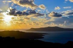 De Caldera van Santorini bij royalty-vrije stock foto's