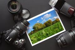 De camera en het beeld van Dslr Royalty-vrije Stock Afbeeldingen