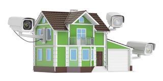 De camera's van veiligheidskabeltelevisie op het huis, het 3D teruggeven Stock Foto's