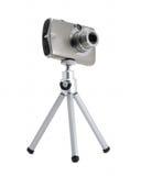 De camera van de foto op geïsoleerde driepoot Royalty-vrije Stock Foto