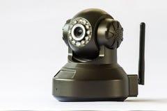 De camera van de veiligheid op witte achtergrond IP camera Stock Foto