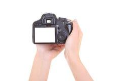 De camera van Dslr in vrouwelijke handen. copyspace Royalty-vrije Stock Afbeelding