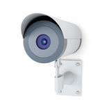 De camera van het toezicht op witte achtergrond het 3d teruggeven Stock Fotografie