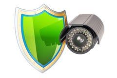 De camera van het veiligheidstoezicht met schild, veiligheidsconcept 3d ren Stock Afbeelding