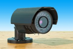 De camera van het veiligheidstoezicht op de houten lijst, het 3D teruggeven Stock Foto's