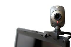 De camera van het Web op geïsoleerde laptop Stock Foto's
