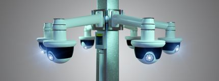 De camera van kabeltelevisie van de straatveiligheid op een 3d die achtergrond wordt geïsoleerd - geef terug Stock Foto