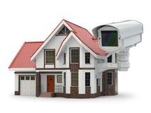 De camera van veiligheidskabeltelevisie op het huis. Royalty-vrije Stock Afbeelding