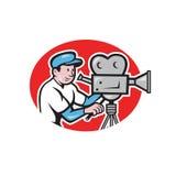 De Camerabeeldverhaal van cameramanvintage film movie stock illustratie