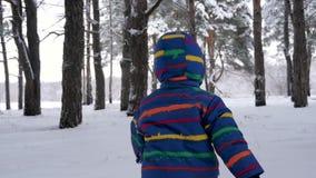 De camerabewegingen achter het lopende kind Een kleine jongenslooppas onder de bomen in de winter Het concept familie stock footage