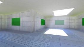 De camerabewegingen door de ruimte met de groene schermen Video's aan gebruik als malplaatje voor uw video's stock videobeelden