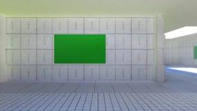 De camerabewegingen door de ruimte met de groene schermen Video's aan gebruik als malplaatje voor uw video's stock video