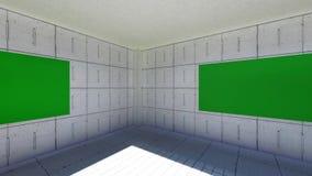 De camerabewegingen door de ruimte met de groene schermen Video's aan gebruik als malplaatje voor uw video's stock footage