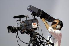 De cameraman van TV Stock Foto's