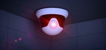 De camerasysteem van veiligheidskabeltelevisie - het 3d teruggeven Stock Fotografie