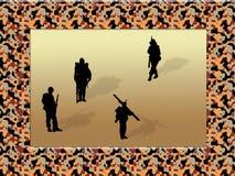 De camouflage van het frame met militairen Stock Afbeelding