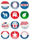 De campagneknopen van de verkiezing Stock Afbeeldingen