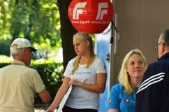 De campagnetribune Noorse van de Vooruitgangspartij (FrP) Stock Fotografie
