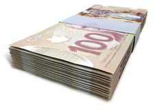 De Canadese Bundels van Dollarnota's Royalty-vrije Stock Afbeeldingen