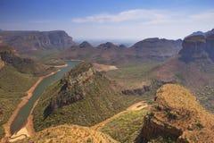 De Canion en Drie Rondavels van de Blyderivier in Zuid-Afrika Royalty-vrije Stock Fotografie