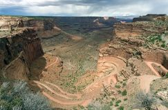 De Canion van Shafer in Nationaal Park Canyonlands Stock Afbeelding