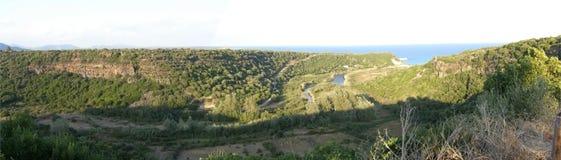 De canionpanorama van de rivier Stock Foto