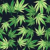 De cannabismarihuana doorbladert Naadloos patroon Vectorinstallatieachtergrond Stock Foto