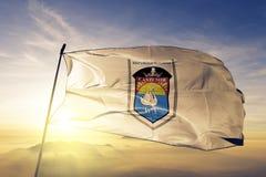 De Cantemirstad en het district van stof die van de de vlag de textieldoek van Moldavië op de hoogste zonsopgangmist golven vertr vector illustratie