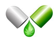De capsule van het marihuanagedeelte Stock Afbeeldingen