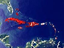 De Caraïben ter wereld bij nacht stock afbeeldingen