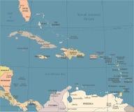 De Caraïbische Kaart - Uitstekende Vectorillustratie royalty-vrije illustratie