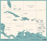 De Caraïbische Kaart - Uitstekende Vectorillustratie stock illustratie