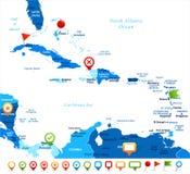 De Caraïbische Kaart - Vectorillustratie stock illustratie
