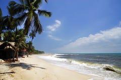 De Caraïbische Zee en één van zijn mooie stranden op Isla Grande, Rosario Archipelago stock afbeelding
