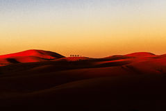 De caravan van de kameel in de woestijn van de Sahara royalty-vrije stock foto