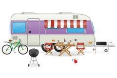 De caravan vectorillustratie van het aanhangwagenkamp Stock Afbeelding