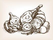 De carne dos produtos vetor do estilo do esboço da vida ainda ilustração do vetor